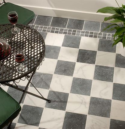 Antique Chequer Marble Tumbled Stone Floor