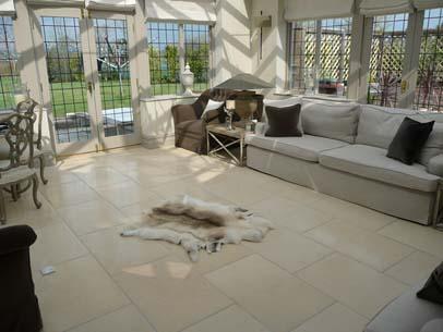 Crema Dura Limestone Tumbled Stone Floor