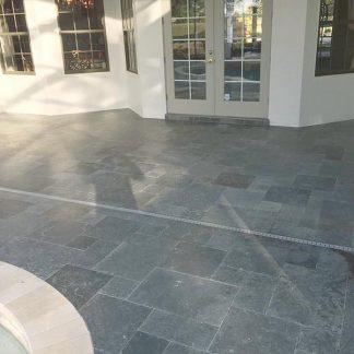 Milano Grey Tumbled Opus Limestone exterior paving