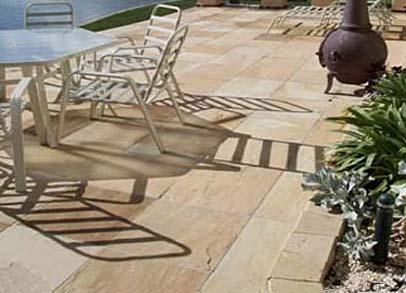 Ochre Sandstone exterior paving
